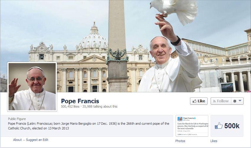 Pape Francois évangélise sur Facebook