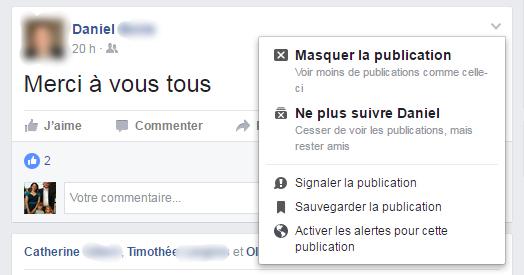 Ne plus suivre un ami Facebook